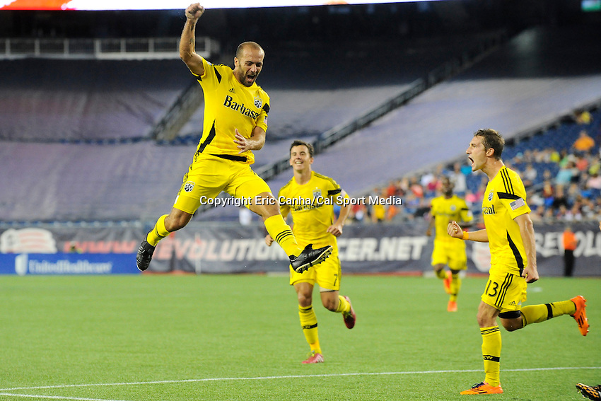 July 26, 2014 - Foxborough, Massachusetts, U.S. - Columbus Crew forward Federico Higuain (10) celebrates a goal during the MLS game between the Columbus Crew and the New England Revolution held at Gillette Stadium in Foxborough Massachusetts.  Eric Canha/CSM