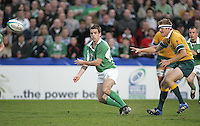 Irish out half Scott Deasy moves play wide during the Division A U19 World Championship clash against Australia at Ravenhill.