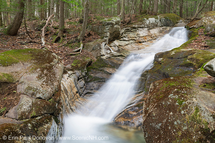 Loon Pond Mountain Cascades along Horner Brook in Woodstock, New Hampshire USA during the spring months.