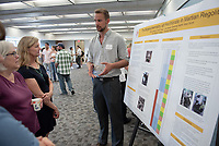 """Biogeochemistry of Perchlorate in Martian Regolith"" by Eddy Dabsys<br /> (Mentor: Christopher Oze, Geology)<br /> Occidental College's Undergraduate Research Center hosts their annual Summer Research Conference, Aug. 1, 2018. Student researchers presented their work as either oral or poster presentations at the final conference. The program lasts 10 weeks and involves independent research in all departments.<br /> (Photo by Marc Campos, Occidental College Photographer)"