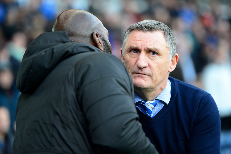 Blackburn Rovers manager Tony Mowbray greets West Bromwich Albion manager Darren Moore <br /> <br /> Photographer Richard Martin-Roberts/CameraSport<br /> <br /> The EFL Sky Bet Championship - Blackburn Rovers v West Bromwich Albion - Tuesday 1st January 2019 - Ewood Park - Blackburn<br /> <br /> World Copyright © 2019 CameraSport. All rights reserved. 43 Linden Ave. Countesthorpe. Leicester. England. LE8 5PG - Tel: +44 (0) 116 277 4147 - admin@camerasport.com - www.camerasport.com