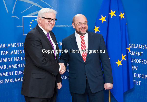 Brussels-Belgium - January 07, 2014 -- Frank-Walter STEINMEIER (le), German Foreign Minister, travels to Brussels for his first official visit since returning to office and meets the top officials of the European institutions; here, with Martin SCHULZ (ri), President of the European Parliament -- Photo: © HorstWagner.eu