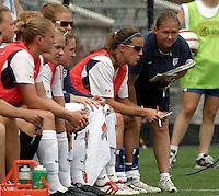 Brandi Chastain(USA).US Women's National Team vs Brazil at Legion Field in Birmingham, Alabama.