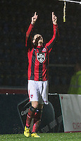 Jamie Devitt of Morecambe celebrates his goal during the Sky Bet League 2 match between Wycombe Wanderers and Morecambe at Adams Park, High Wycombe, England on 2 January 2016. Photo by Andy Rowland / PRiME Media Images