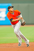 Shortstop Manny Machado #3 of the Frederick Keys tracks a fly ball against the Winston-Salem Dash at BB&T Ballpark on August 5, 2011 in Winston-Salem, North Carolina.  The Dash defeated the Keys 10-0.   Brian Westerholt / Four Seam Images