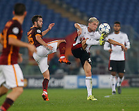 AS Roma's Miralem Pjanic fight for the ball with Leverkusen's Kevin Kampl  during the Champions League Group E soccer match between As Roma and  Bayer Leverkusen at the Olympic Stadium in Rome, November 04 2015