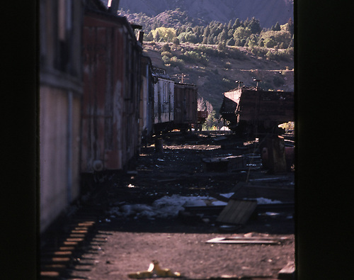 Yard scene along a string of freight cars.<br /> D&amp;RGW
