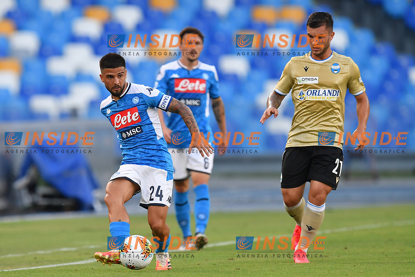Lorenzo Insigne of SSC Napoli in action during the Serie A football match between SSC Napoli and SPAL at stadio San Paolo in Naples ( Italy ), June 28th, 2020. Play resumes behind closed doors following the outbreak of the coronavirus disease. <br /> Photo Carmelo Imbesi / Insidefoto