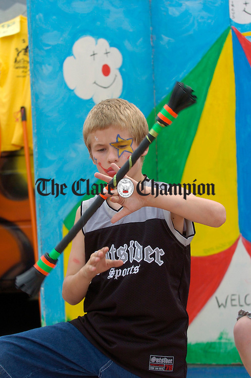 Steven Lyons of Ennis in action during the street carnival in Ennis market on Sunday. Photograph by John Kelly.