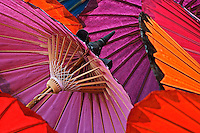 Hand made decorative umbrellas, Umbrella Making Center, Bo Sang, near Chiang Mai, Thailand