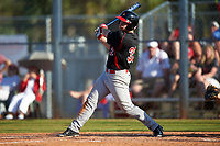 Illinois State Redbirds left fielder Daniel Dwyer (32) at bat during a game against the Indiana Hoosiers on March 4, 2016 at North Charlotte Regional Park in Port Charlotte, Florida.  Indiana defeated Illinois State 14-1.  (Mike Janes/Four Seam Images)