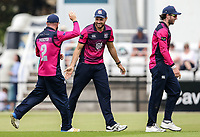 Northants Steelbacks' Nathan Buck celebrates with his team mates   Luke Procter and Alex Wakely after taking a catch to dismiss Will Smith (not shown) <br /> <br /> Photographer Andrew Kearns/CameraSport<br /> <br /> Royal London One Day Cup - Northamptonshire v Durham - Sunday 27th May 2018 - The County Ground, Northampton<br /> <br /> World Copyright &copy; 2018 CameraSport. All rights reserved. 43 Linden Ave. Countesthorpe. Leicester. England. LE8 5PG - Tel: +44 (0) 116 277 4147 - admin@camerasport.com - www.camerasport.com
