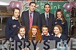Presentation Secondary Tralee Build A Bank on Thursday were front l-r: Niamh Dillane, Muireann Keating, Orla Keane and Shelly Hynes.Back l-r: Cliodhna Hayes, Darragh Ó Se, Fergus McAuliffe (AIB Bank) and Clara Heinrich.