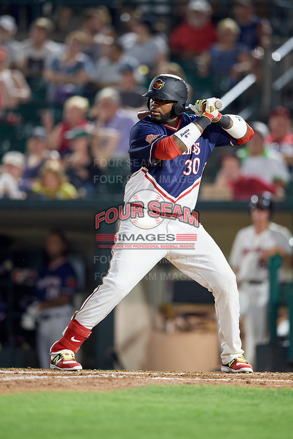 Rochester Red Wings designated hitter Kennys Vargas (30) at bat during a game against the Pawtucket Red Sox on July 4, 2018 at Frontier Field in Rochester, New York.  Pawtucket defeated Rochester 6-5.  (Mike Janes/Four Seam Images)