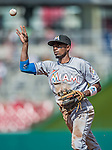 20 September 2015: Miami Marlins infielder Dee Gordon in action against the Washington Nationals at Nationals Park in Washington, DC. The Marlins fell to the Nationals 13-3 in the final game of their 4-game series. Mandatory Credit: Ed Wolfstein Photo *** RAW (NEF) Image File Available ***