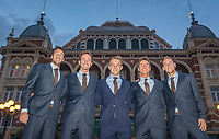 The Hague, The Netherlands, September 13, 2017,  Sportcampus , Davis Cup Netherlands - Chech Republic, Official Dinner, Dutch team in front of the Kurhaus in Scheveningen, Ltr: Robin Haase, Matwe Middelkoop,  Tallon Griekspoor, Captain Paul Haarhuis and Thiemo de Bakker,<br /> Photo: Tennisimages/Henk Koster