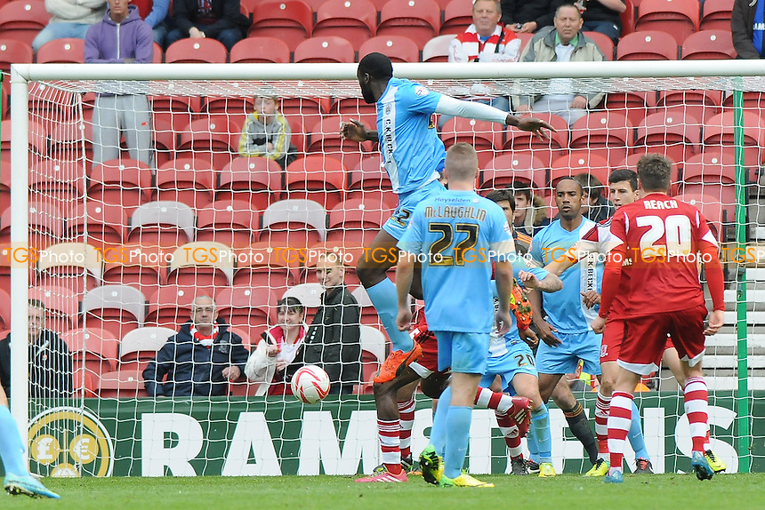 Jean-Yves Mvoto of Barnsley scores the opening goal of the game - Middlesbrough vs Barnsley - Sky Bet Championship Football at the Riverside Stadium, Middlesbrough - 26/04/14 - MANDATORY CREDIT: Steven White/TGSPHOTO - Self billing applies where appropriate - 0845 094 6026 - contact@tgsphoto.co.uk - NO UNPAID USE