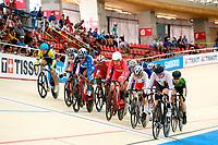 Picture by Alex Whitehead/SWpix.com - 09/12/2017 - Cycling - UCI Track Cycling World Cup Santiago - Velódromo de Peñalolén, Santiago, Chile - Women's Omnium Elimination race. Tissot branding.