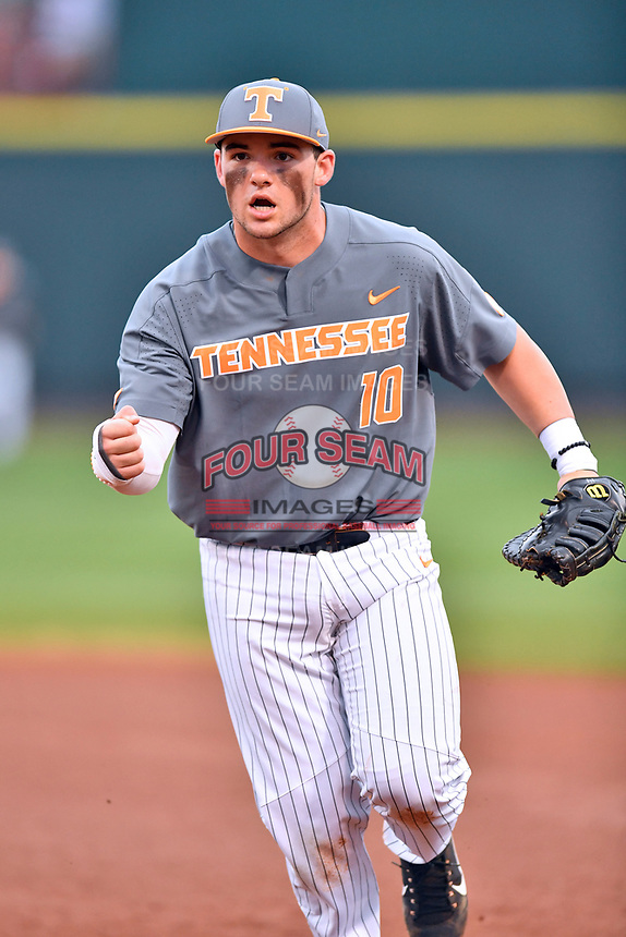 Tennessee Volunteers first baseman Pete Derkay (10) reacts to the third out during a game against the University of North Carolina Greensboro (UNCG) Spartans at Lindsey Nelson Stadium on February 24, 2018 in Knoxville, Tennessee. The Volunteers defeated Spartans 11-4. (Tony Farlow/Four Seam Images)