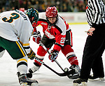 12 December 2009: St. Lawrence University Saints' forward Nick Pitsikoulis, a Junior from Montreal, Quebec, faces off against the University of Vermont Catamounts at Gutterson Fieldhouse in Burlington, Vermont. The Catamounts shut out their former ECAC rival Saints 3-0. Mandatory Credit: Ed Wolfstein Photo