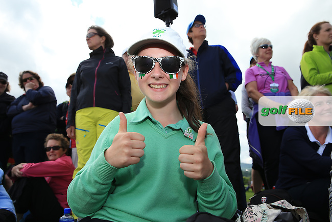 A smiling happy Irish gal during the Closing Ceremony at the 2016 Curtis Cup, played at Dun Laoghaire GC, Enniskerry, Co Wicklow, Ireland. 12/06/2016. Picture: David Lloyd | Golffile. <br /> <br /> All photo usage must display a mandatory copyright credit to &copy; Golffile | David Lloyd.