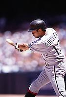 Ozzie Guillen of the Chicago White Sox at Anaheim Stadium in Anaheim,California during the 1996 season. (Larry Goren/Four Seam Images)