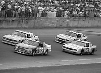 Bobby Allison, #22 Stavola Brothers Buick, Geoff Bodine, #5 Rick Hendrick Chevrolet, Dale Earnhardt Sr., #3 Richard Childress Wrangler Chevrolet, Richard Petty, #43 Petty Enterprises STP Pontiac, action, Daytona 500, Daytona International Speedway, Daytona Beach, Florida, February 15, 1987. (Photo by Brian Cleary/www.bcpix.com)