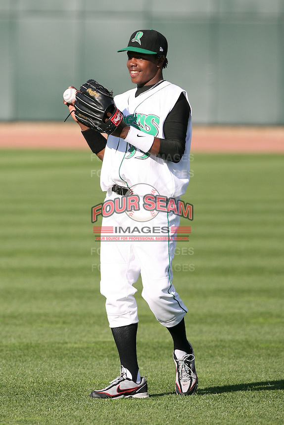 June 16th 2008:  Luis Montano of the Dayton Dragons, Class-A affiliate of the Cincinnati Reds, during the Midwest League All-Star Home Run Derby at Dow Diamond in Midland, MI.  Photo by:  Mike Janes/Four Seam Images