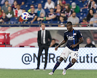 Foxborough, Massachusetts - August 11, 2018: In a Major League Soccer (MLS) match, Philadelphia Union (white) defeated New England Revolution (blue/white), 3-2, at Gillette Stadium.