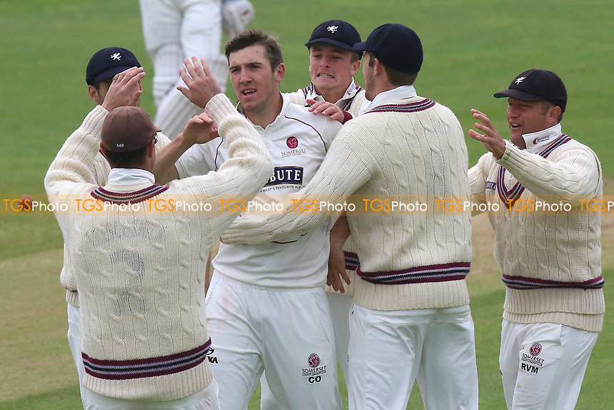 Craig Overton of Somerset is congratulated by his team mates after taking the wicket of Daniel Lawrence during Somerset CCC vs Essex CCC, Specsavers County Championship Division 1 Cricket at The Cooper Associates County Ground on 15th April 2017