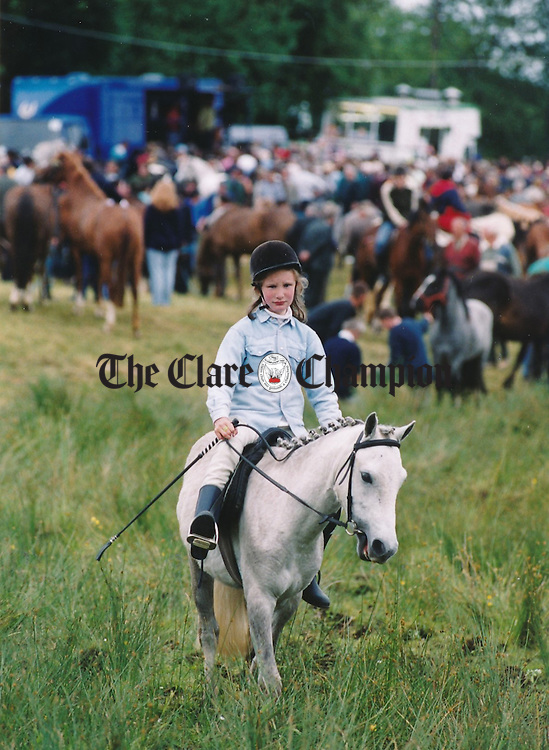 Tracey Buckley from Miltown Malbay with her pony at the fair in Spancilhill - July 2, 1999. Photograph by John Kelly