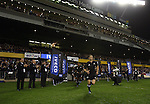 Dan Carter runs on to the park before the first international rugby test at Eden Park, Auckland, New Zealand, Saturday, June 02, 2007. The All Blacks beat France 42-11.