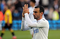 Leon Britton of Swansea City applauds home supporters after the Premier League match between Swansea City and Watford at The Liberty Stadium on October 22, 2016 in Swansea, Wales, UK.