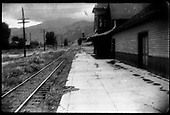 D&amp;RGW / RGS Ridgway depot and platform, looking down the Ouray Branch.<br /> RGS  Ridgway, CO  ca. 1950