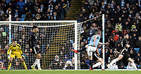 Manchester City's Kevin De Bruyne scores his side's third goal past Burnley's Nick Pope<br /> <br /> Photographer Rich Linley/CameraSport<br /> <br /> Emirates FA Cup Fourth Round - Manchester City v Burnley - Saturday 26th January 2019 - The Etihad - Manchester<br />  <br /> World Copyright © 2019 CameraSport. All rights reserved. 43 Linden Ave. Countesthorpe. Leicester. England. LE8 5PG - Tel: +44 (0) 116 277 4147 - admin@camerasport.com - www.camerasport.com