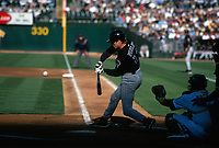 OAKLAND, CA:  Steve Finley of the Arizona Diamondbacks bats during a game against the Oakland Athletics at the Oakland Coliseum in Oakland, California in 2000. (Photo by Brad Mangin)