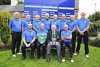 Limerick Golf Club Team with team captain Paddy Power holding the winners pennant and trophy pictured with Jim McGovern President GUI after the All Ireland Four Ball Interclub Final, Roe Park resort, Limavady, Derry, Northern Ireland. 15/09/2019.<br /> Picture Fran Caffrey / Golffile.ie<br /> <br /> All photo usage must carry mandatory copyright credit (© Golffile | Fran Caffrey)<br /> <br /> Team Details to Follow: