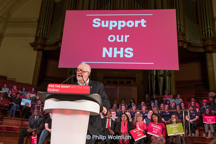 Jeremy Corbyn, Labour Care for the NHS rally, Central Hall Westmintser, London.
