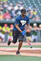 Second baseman Orlando Hudson runs to first base during a game against the soldiers from Fort Jackson as part of the All Star Game festivities at Spirit Communications Park on June 19, 2017 in Columbia, South Carolina. The soldiers from Fort Jackson defeated the Celebrities 1-0. (Tony Farlow/Four Seam Images)