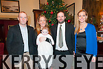 Baby James Keane with his parents Frank & Soracha Keane, Lixnaw & god parents Brendan Keane & Catherine Allan who was christened in St. Johns Church, Ballybunion on December 27th by Fr. Noel Spring & afterwards at the Listowel Arms Hotel.