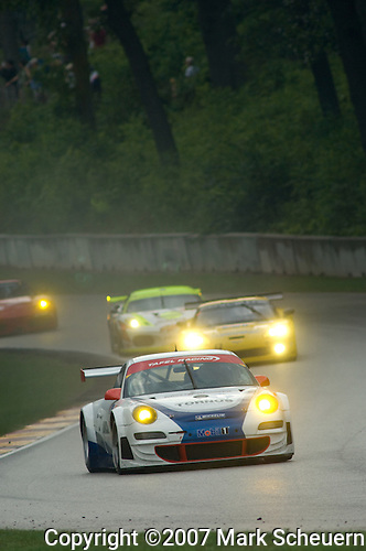 10 August 2007: The Tafel Racing Porsche 911 GT3 RSR driven by Wolf Henzler (DEU) and Robin Liddell (XSC) at the Generac 500 at Road America, Elkhart Lake, WI