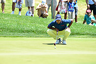 Bethesda, MD - July 1, 2018: Anirban Lahiri lines up a putt on the 7th hole during final round of professional play at the Quicken Loans National Tournament at TPC Potomac at Avenel Farm in Bethesda, MD.  (Photo by Phillip Peters/Media Images International)