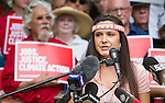 Melina Laboucan-Massimo speaks at the Press Conference before the Jobs, Justice and Climate march in Toronto. On July 5th more than 10,000 people gathered in Toronto, the traditional territories of the Missisauga peoples, for the March for Jobs, Justice and the Climate. The march told the story of a new economy that works for people and the planet. People marched for an economy that starts with justice, creates good work, clean jobs and healthy communities. The people recognize that we have solutions and we know who is responsible for causing the climate crisis. (Photo: Robert van Waarden)