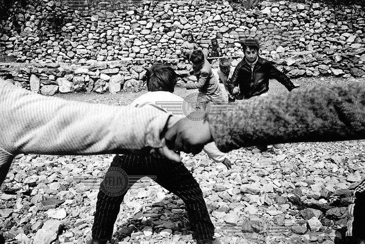 © Rhodri Jones/Panos Pictures..Albania...Children playing a local version of 'catch'.