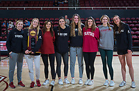 Stanford, CA - February 20, 2020: Women's Volleyball Team at Maples Pavilion. Stanford Men's Volleyball lost to the USC Trojans in four sets, 21-25, 25-19, 23-25, and 21-25.