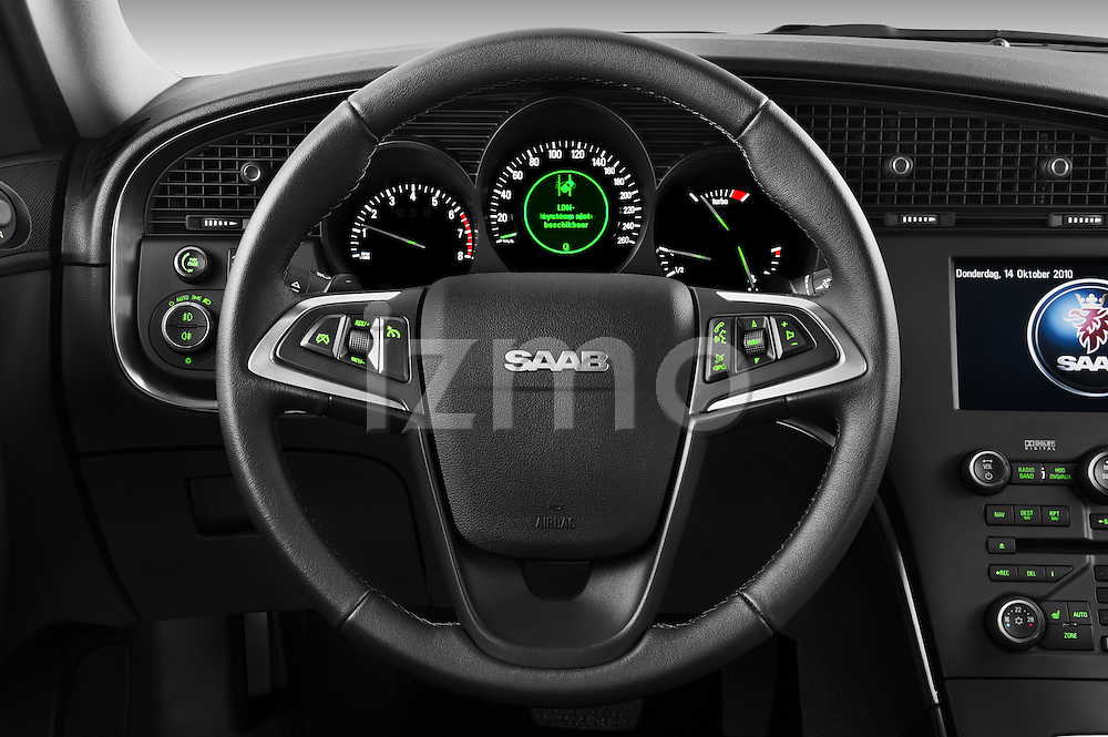 Steering wheel view of a 2011 Saab 95 Vector 4 Door Sedan