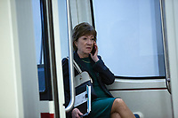 United States Senator Susan Collins (Republican of Maine) speaks on the phone in the Senate Subway following a cloture vote on a Coronavirus Stimulus Package at the United States Capitol in Washington D.C., U.S., on Monday, March 23, 2020.  Credit: Stefani Reynolds / CNP/AdMedia