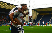 Preston North End's Daniel Johnson celebrates scoring his side's third goal with team-mate David Nugent<br /> <br /> Photographer Kevin Barnes/CameraSport<br /> <br /> The EFL Sky Bet Championship - Preston North End v Barnsley - Saturday 5th October 2019 - Deepdale Stadium - Preston<br /> <br /> World Copyright © 2019 CameraSport. All rights reserved. 43 Linden Ave. Countesthorpe. Leicester. England. LE8 5PG - Tel: +44 (0) 116 277 4147 - admin@camerasport.com - www.camerasport.com