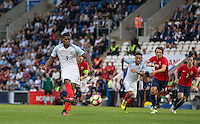 Marcus Rashford (Manchester United) scores his hat trick from the penalty spot during the International EURO U21 QUALIFYING - GROUP 9 match between England U21 and Norway U21 at the Weston Homes Community Stadium, Colchester, England on 6 September 2016. Photo by Andy Rowland / PRiME Media Images.