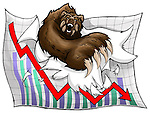 Illustrative image of bear tearing graph paper representing loss in stock exchange